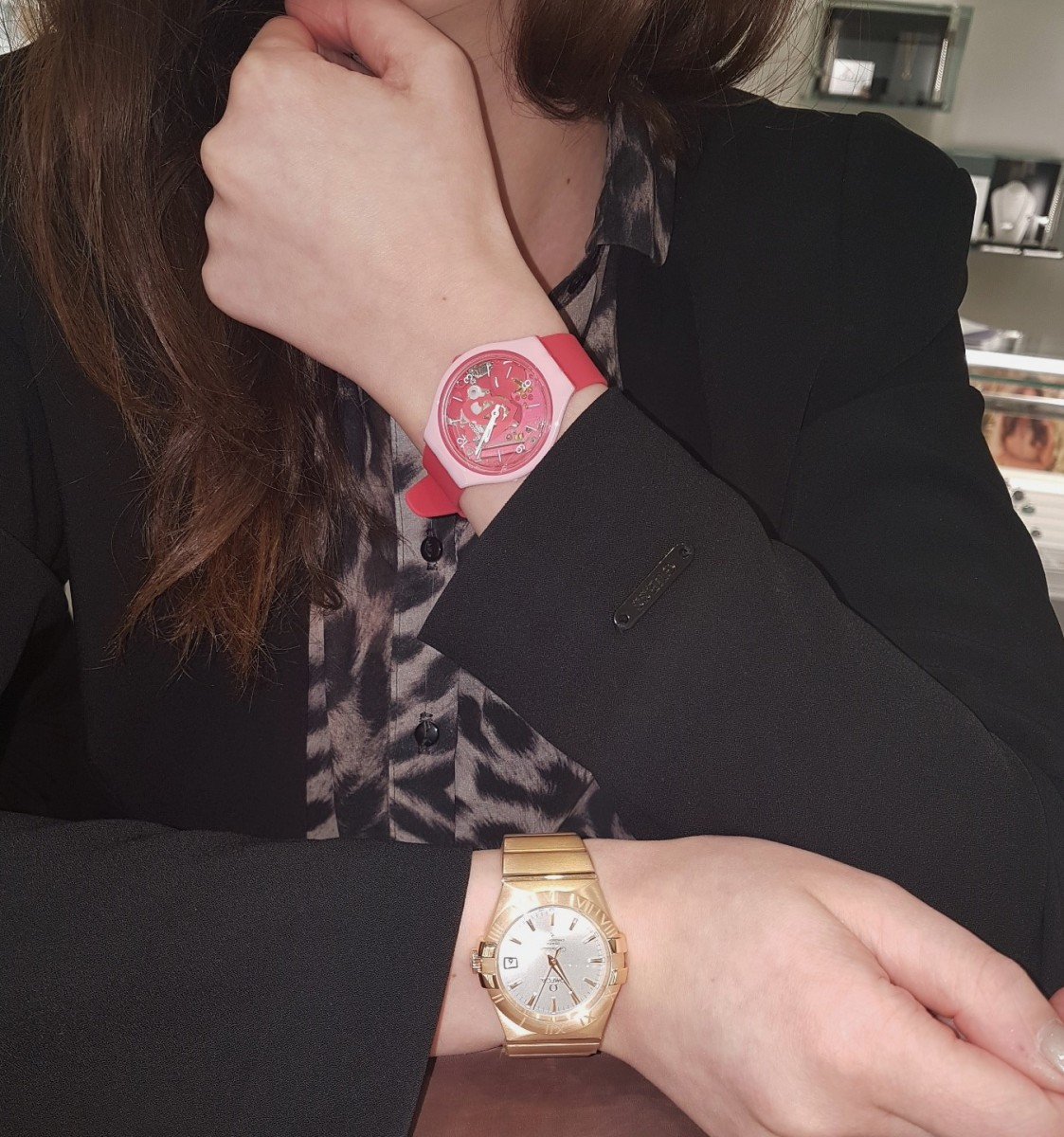 Omega Constellation and Swatch SKIN