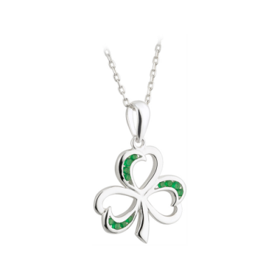Silver and Emerald Shamrock Pendant