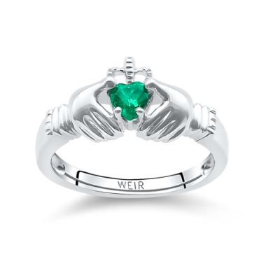 White Gold and Emerald Claddagh Ring