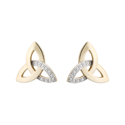 Gold and Diamond Trinity Knot Earrings
