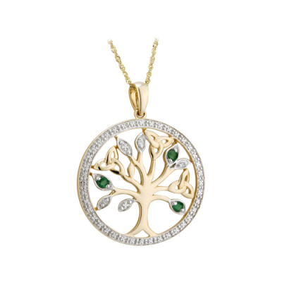 Gold and Diamond Tree of Life Pendant