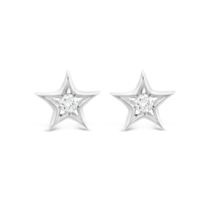 18K White Gold and Diamond Star Earrings