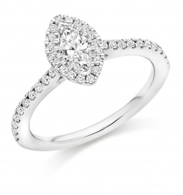 Platinum and Diamond Marquise Engagement Ring