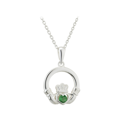 Sterling Silver Claddagh Pendant with Green Crystal, €50
