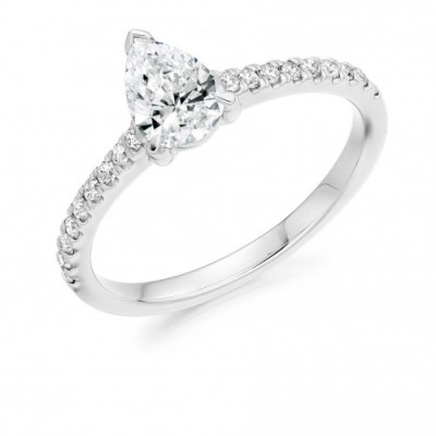 Platinum Pear Solitaire Diamond Ring, €3,050