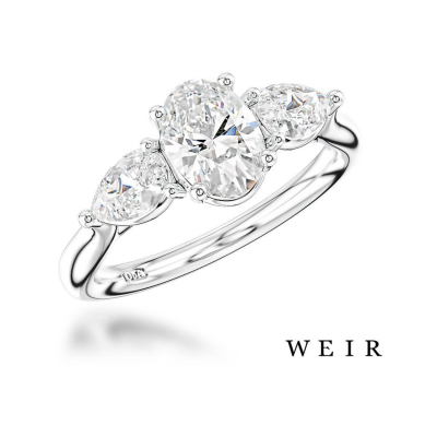 Platinum and Oval Cut Engagement Ring, €6,325