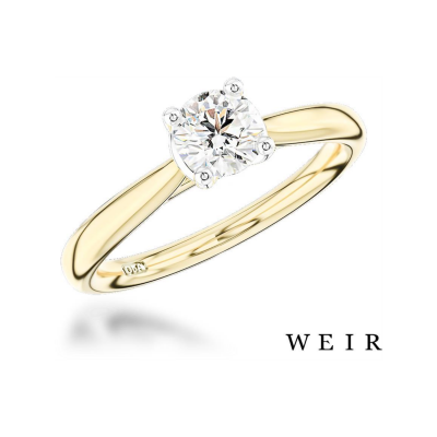 Yellow gold Round Brilliant Diamond ring set in Platinum, €4,325