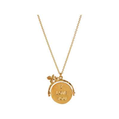 Alex Monroe I Love you gold plated sterling silver pendant