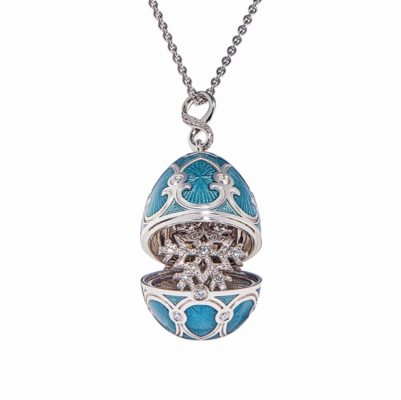 Fabergé Selo Teal Egg Locket with Snowflake - Palais Tsarskoye Collection