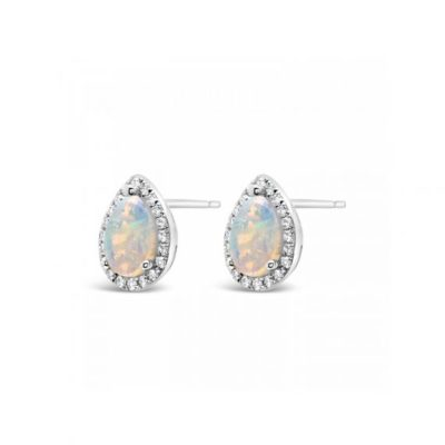 18k White gold opal and diamond earrings