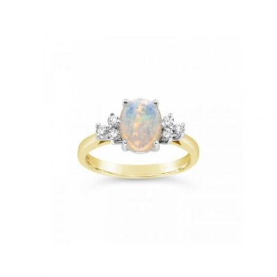 Opal and Diamond ring with gold band