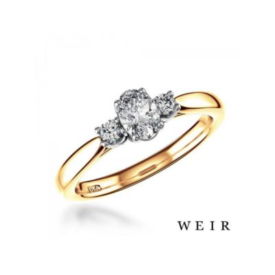 18k gold and Platinum Oval cut Diamond Ring Weir and Sons
