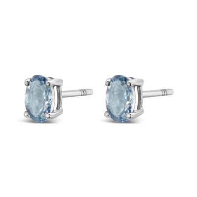 Aquamarine and white gold oval stud earrings