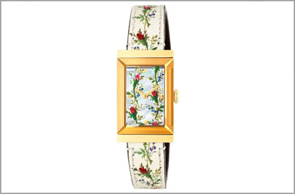 Lady's Gucci G-Frame Yellow Tone Floral Strap watch