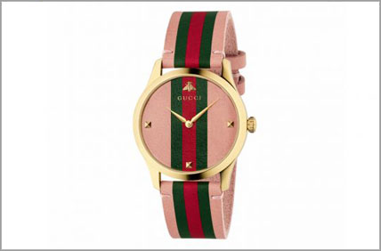 Gucci Pink, gold and striped watch