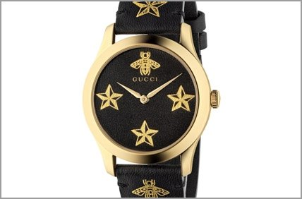 Gucci G Timeless Black Bee and Star Watch